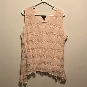🌻Shannon Ford Blush Pink Lace Sleeveless Top